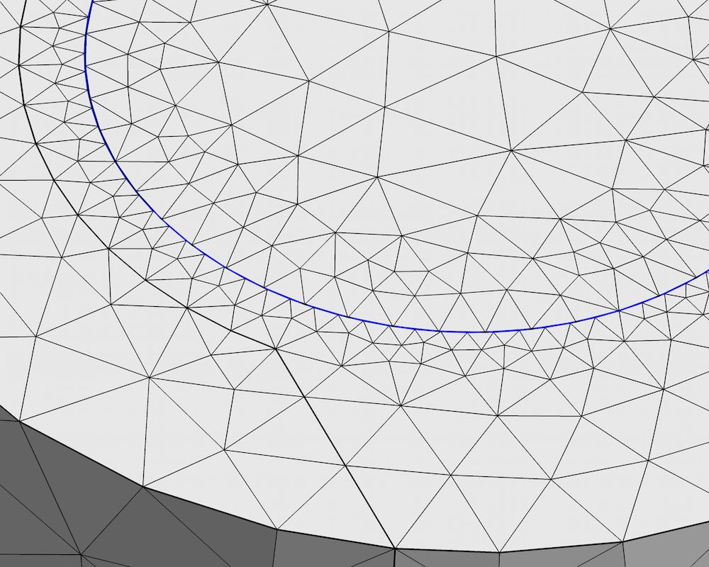 直流电机仿真中网格的放大图。