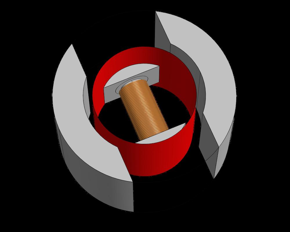 直流电机示意图,其中两磁体间是空气区域。