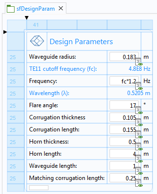 The design parameter form is pictured here.
