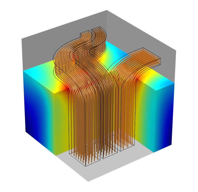 A model of a multi-turn coil.