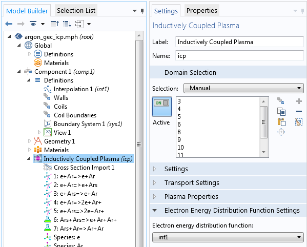 A screenshot showing the function settings for electron energy distribution.