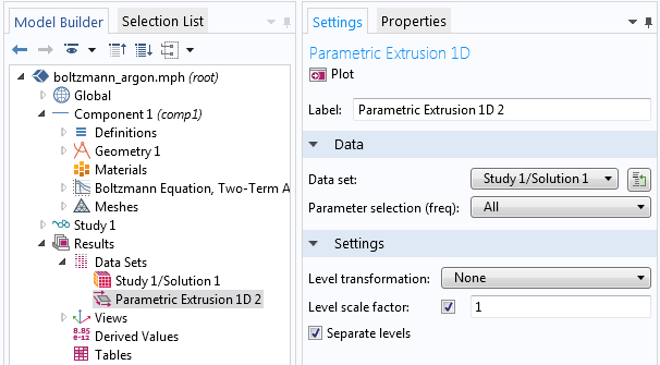A screenshot showing how to export EEDF data in a simulation.