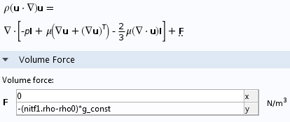 A screenshot of the volume force definition.