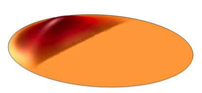 A visual representation of the anti-phase displacement in a vibrating disk.
