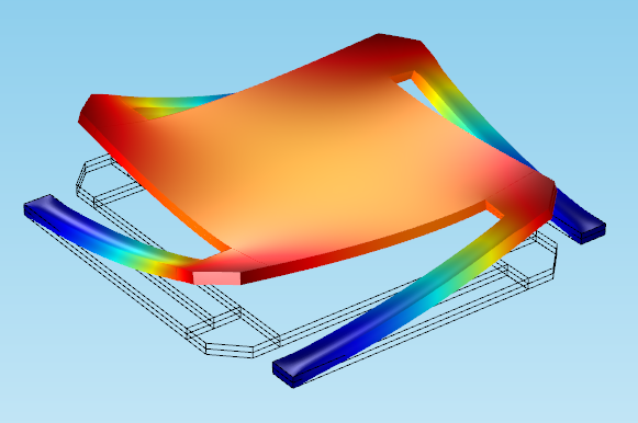 A COMSOL Multiphysics tutorial model showing deformation in a micromirror.