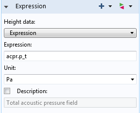 A screenshot showing how to edit the height data expression.