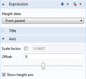 The height expression parent settings of our model.