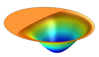 An image depicting the in-phase displacement of a vibrating disk.