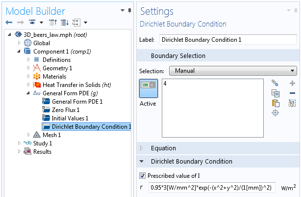 Screenshot of setting the Dirichlet boundary condition for incident light intensity in a simulation.