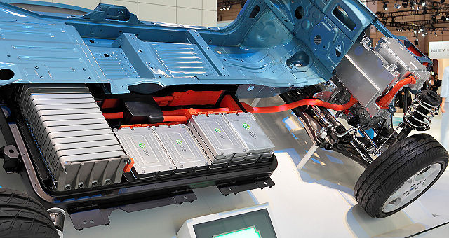 A photo of the drivetrain of an electric vehicle.