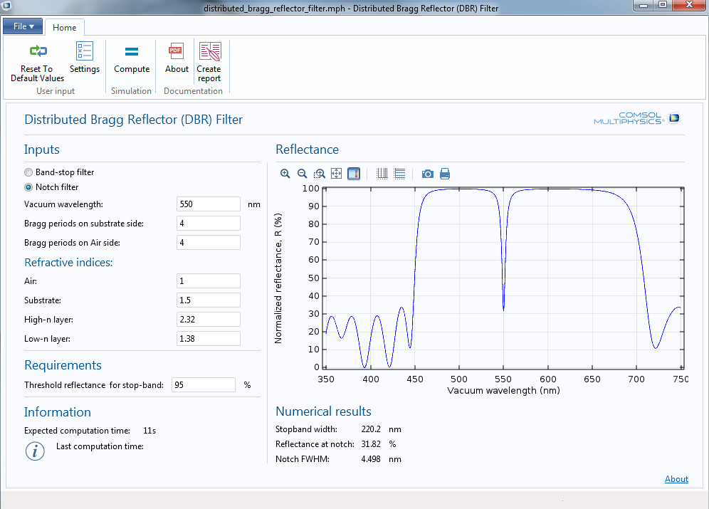 How to plot the transmitting radiation in the DBR filter app in COMSOL Multiphysics.