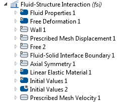 A screenshot of the Fluid-Structure Interaction interface in COMSOL Multiphysics.