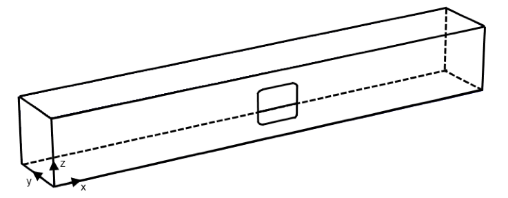 A schematic of a frame with a cutout.