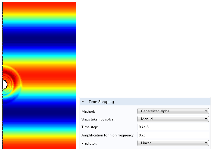 A screenshot that shows how to customize time stepping in a simulation.
