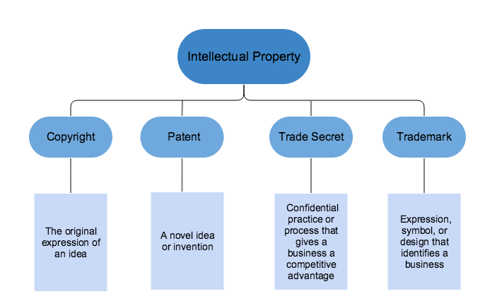 A chart showing the different forms of intellectual property.