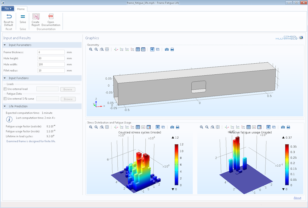 A screenshot of the user interface of a Frame Fatigue Life app created with the Application Builder in COMSOL Multiphysics.