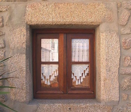 A photograph showing a window with sharp corners.