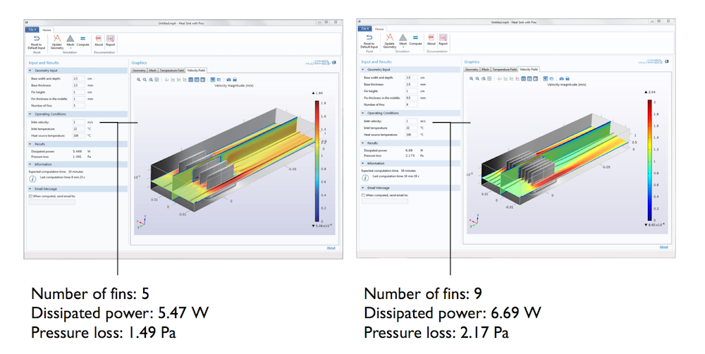 Two images comparing the heat sink with fins simulation app when the number of fins is changed.