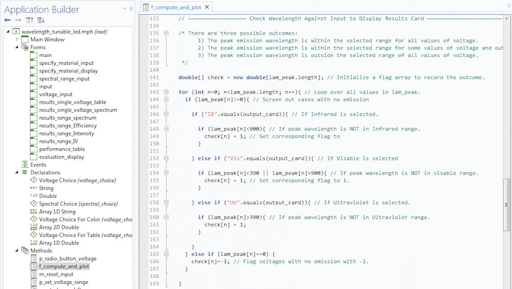 A screen capture of the section of the f_compute_and_plot custom method in the Application Builder.