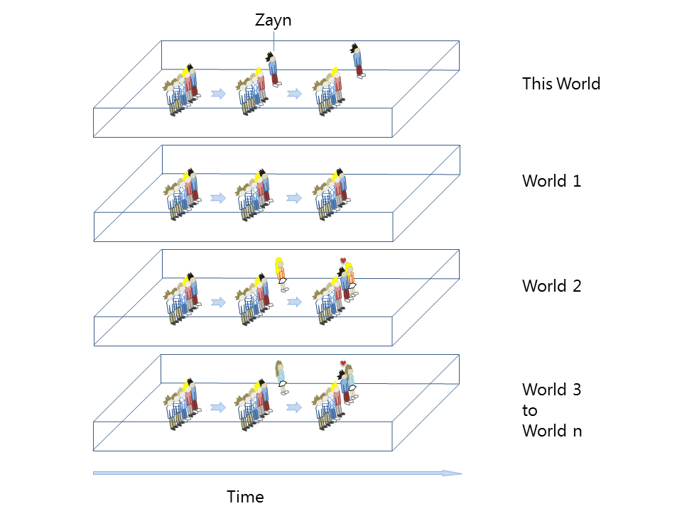 Zayn of One Direction in a variety of different parallel worlds.