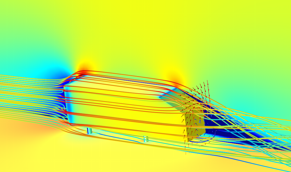 An image showing a simulation of airflow over an Ahmed body.