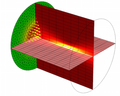 Laser beam focused in cylindrical material domain featured