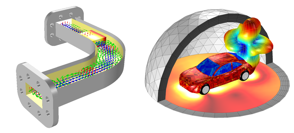 Two images showing attractive visualizations of simulation results in COMSOL Multiphysics.