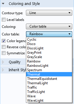 A screenshot showing how to create a thermal color table in COMSOL Multiphysics.