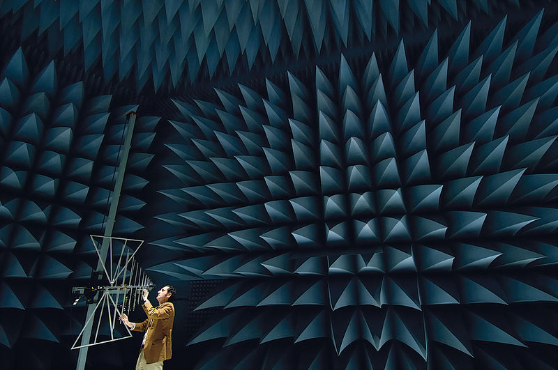 Here, we see an antenna located in an anechoic chamber.