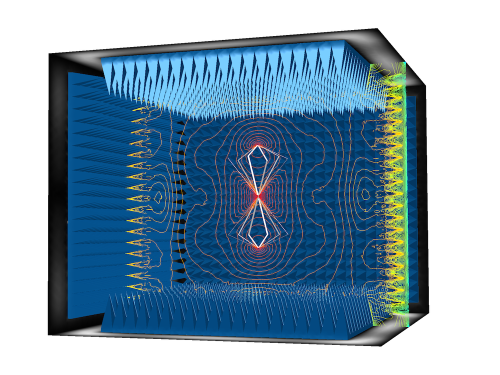 An electromagnetics simulation of an anechoic chamber with a biconical antenna inside.