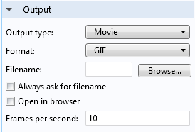 This image shows output options for creating animations.