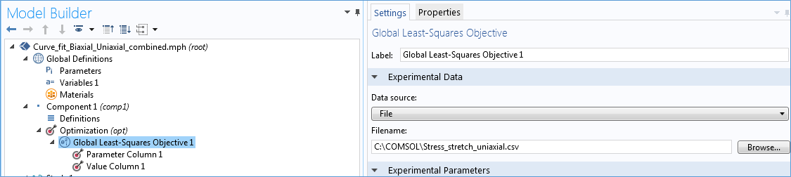 This screenshot shows the Global Least-Squares Objective branch, which can be accessed in the COMSOL Multiphysics Model Builder.