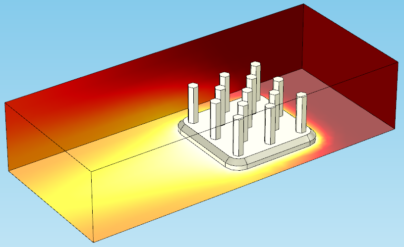 A temperature plot of a heat sink.