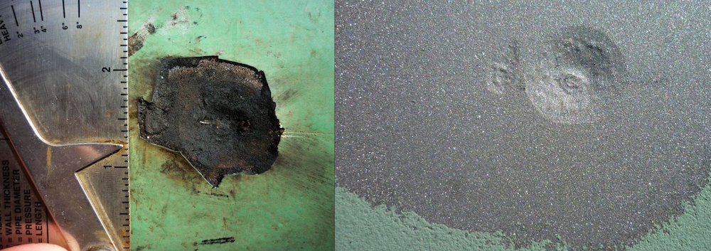 Images comparing a corrosion pit before and after blasting.