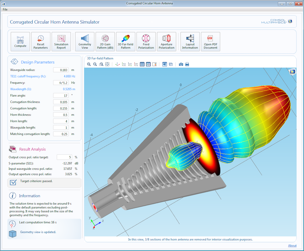 A circular horn antenna simulation app.