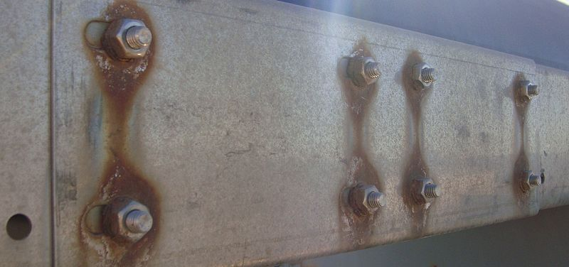 The effects of galvanic corrosion are pictured here.