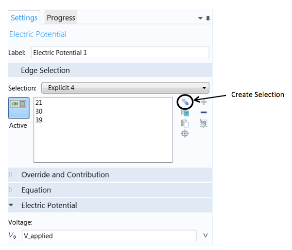 Settings window for creating a selection.