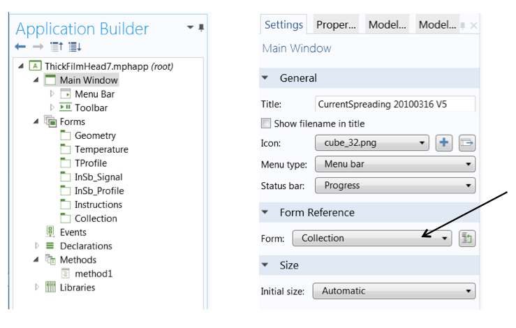 Locating the collection form in the Application Builder.