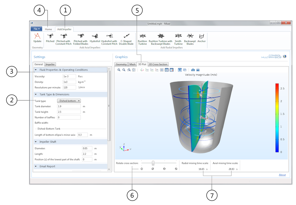 Screenshot showing the COMSOL Multiphysics Mixer demo app.