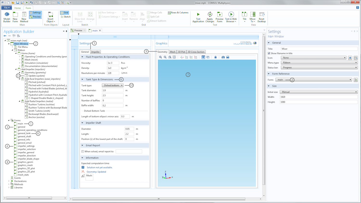 A screenshot showing the user interface (UI) of our COMSOL Multiphysics Mixer app.