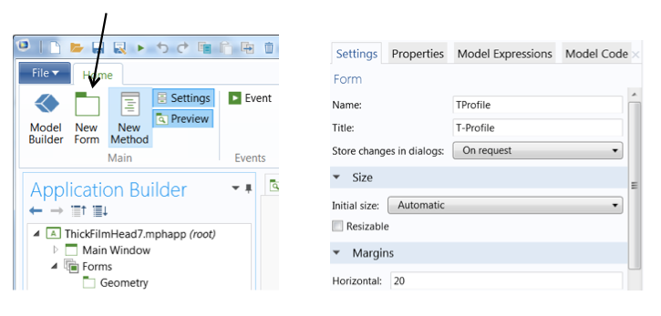 Creating a new form in the Application Builder.