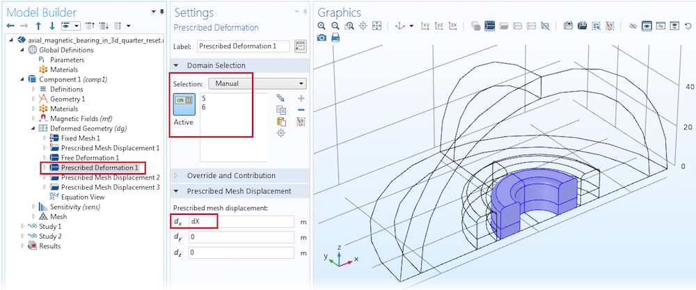 A screenshot of the prescribed deformation settings in COMSOL Multiphysics