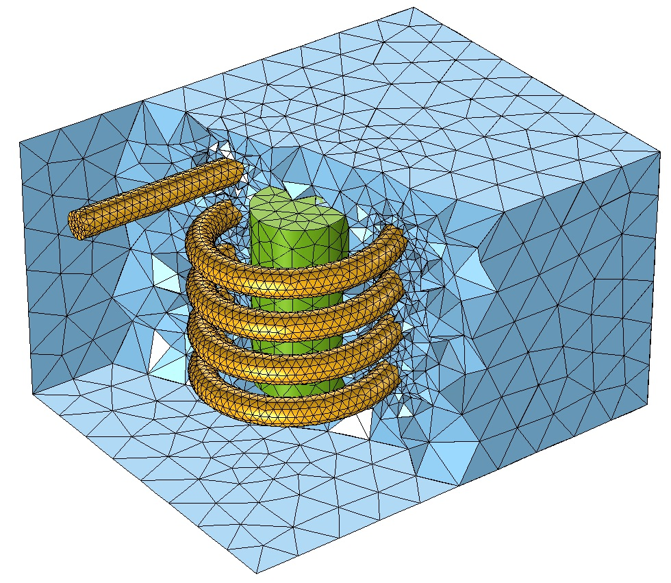 A graphic showing the default free tetrahedral mesh in COMSOL Multiphysics.