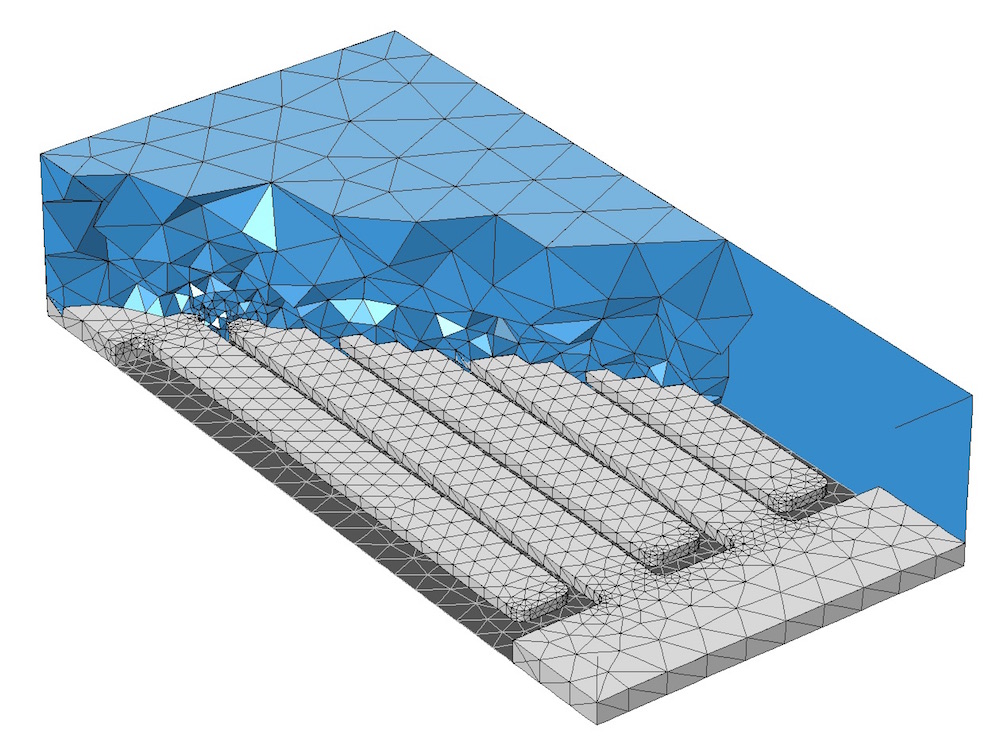 A graphic of the default mesh settings on a MEMS structure.