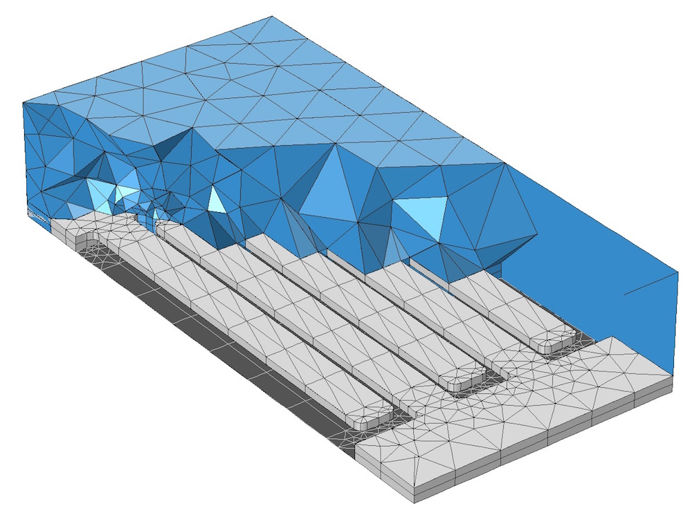 Swept mesh and free mesh combined on a MEMS structure.