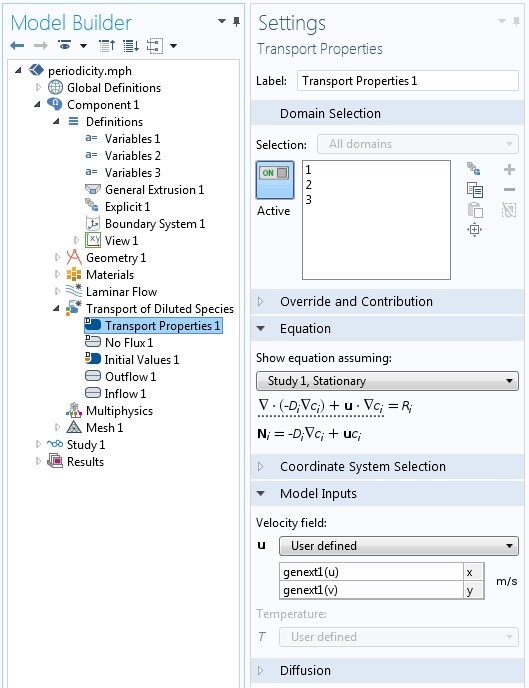 A screenshot of the General Extrusions operator in COMSOL Multiphysics.