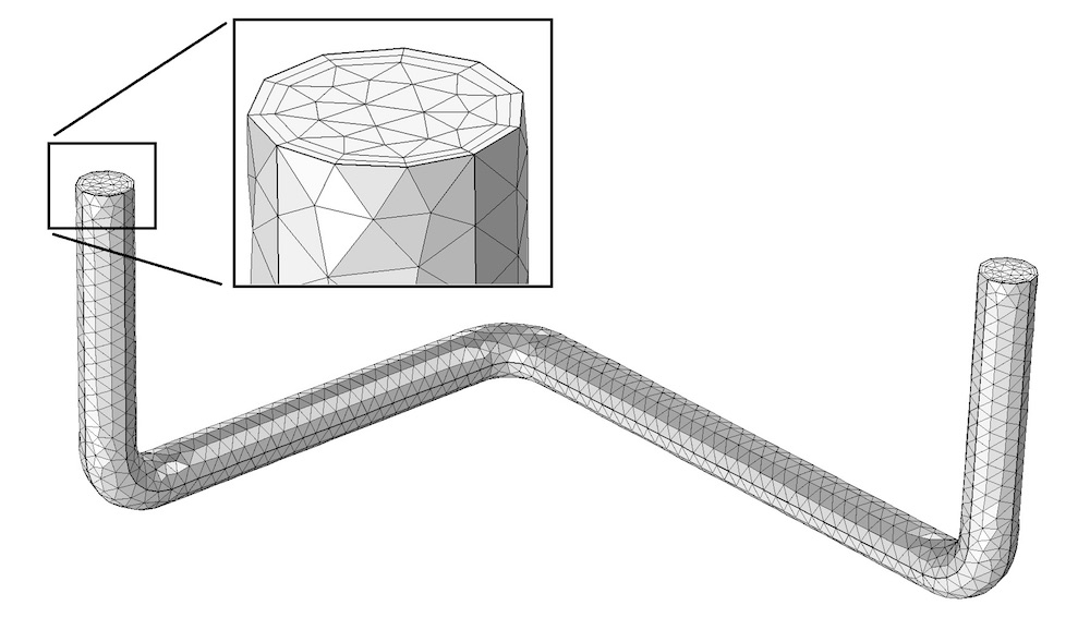 An image of a pipe with the default finite element mesh in COMSOL Multiphysics.