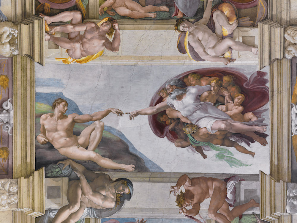 An image of the artwork on the ceiling of the Sistine Chapel in Rome.