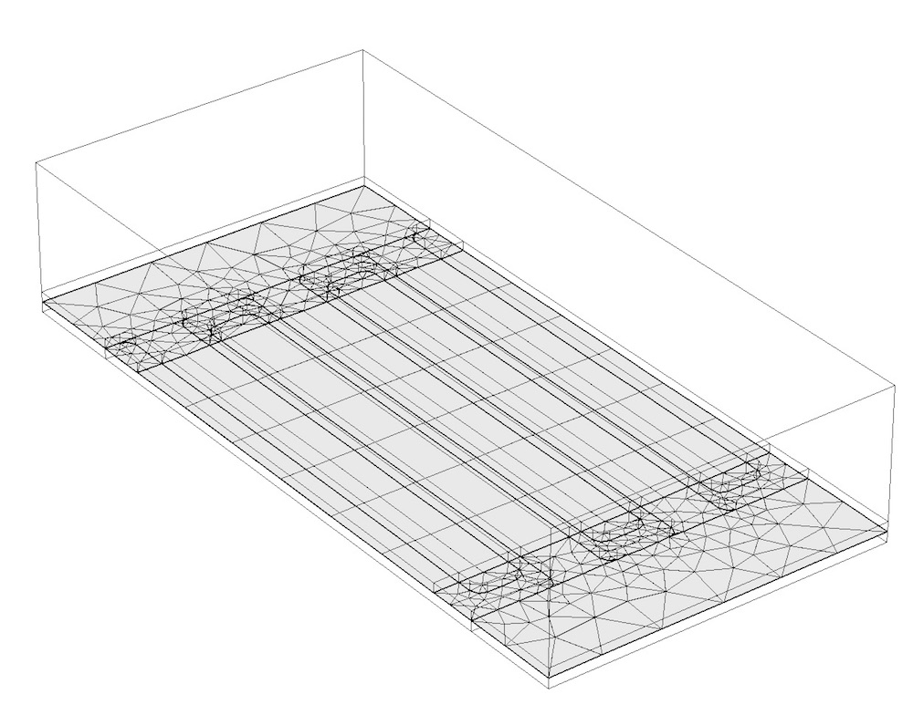 A surface mesh applied to one of the partitioning planes in a MEMS structure.