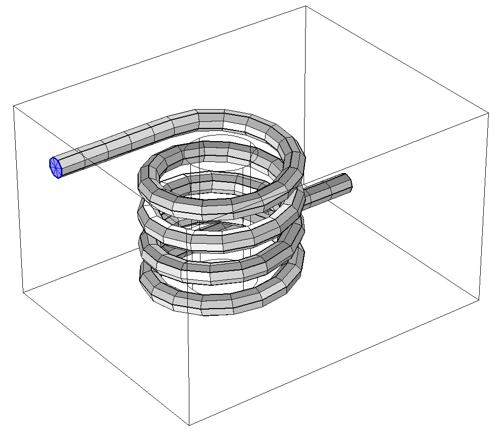 A triangular mesh applied to the cross-sectional surface at one end of a coil.